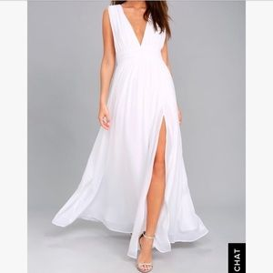 Lulu's Heavenly Hues White Maxi Dress | Size Small